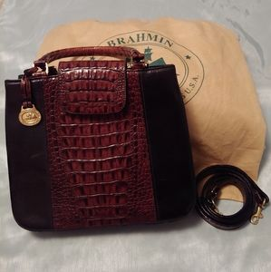 Brahmin Black/Brown Leather Tote/Shoulder Bag